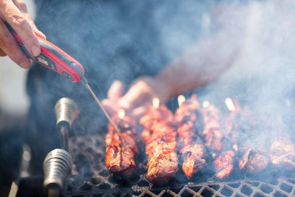 """<p>The absolute best way to ensure your meat is cooked through and safe enough to eat is to use a meat thermometer. Toups calls it """"an essential tool,"""" and recommends """"the <a href=""""https://www.thermoworks.com/Thermapen-Mk4"""" rel=""""nofollow noopener"""" target=""""_blank"""" data-ylk=""""slk:Thermapen"""" class=""""link rapid-noclick-resp"""">Thermapen</a> because it's fast, accurate, and waterproof."""" </p>"""