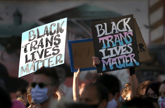 BOSTON, MA - JUNE 13: Thousands march during a Transgender Resistance Vigil + March from Franklin Park Playstead to Nubian Square in Boston's Roxbury on June 13, 2020. 2020 Boston pride was scheduled for June 13, but was cancelled due to coronavirus. (Photo by Barry Chin/The Boston Globe via Getty Images)