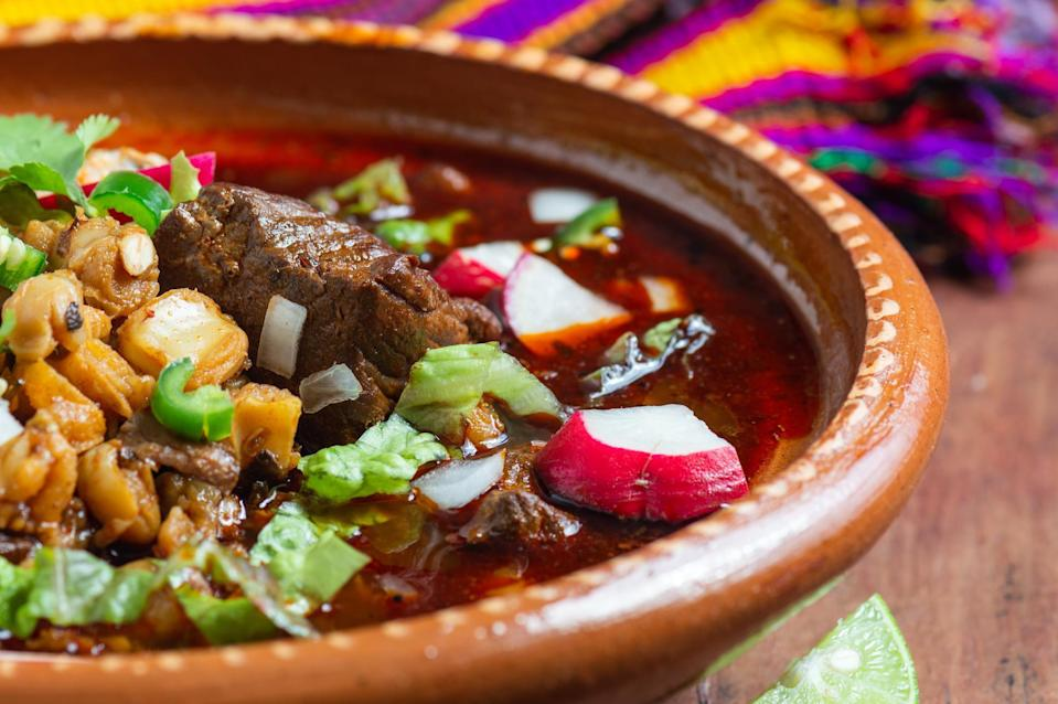 """<p>Did someone say pozole for brunch? This dish is the perfect rendition of the iconic <a href=""""https://www.thedailymeal.com/cook/best-mexican-recipes?referrer=yahoo&category=beauty_food&include_utm=1&utm_medium=referral&utm_source=yahoo&utm_campaign=feed"""" rel=""""nofollow noopener"""" target=""""_blank"""" data-ylk=""""slk:Mexican soup"""" class=""""link rapid-noclick-resp"""">Mexican soup</a>, but with the addition of a poached egg. Not sure how to make a poached egg? No worries, we have a guide on <a href=""""https://www.thedailymeal.com/cook/how-to-poach-egg?referrer=yahoo&category=beauty_food&include_utm=1&utm_medium=referral&utm_source=yahoo&utm_campaign=feed"""" rel=""""nofollow noopener"""" target=""""_blank"""" data-ylk=""""slk:how to poach an egg perfectly every time"""" class=""""link rapid-noclick-resp"""">how to poach an egg perfectly every time</a>.</p> <p><a href=""""https://www.thedailymeal.com/best-recipes/pork-chorizo-hominy-stew-poached-eggs?referrer=yahoo&category=beauty_food&include_utm=1&utm_medium=referral&utm_source=yahoo&utm_campaign=feed"""" rel=""""nofollow noopener"""" target=""""_blank"""" data-ylk=""""slk:For the Pork and Chorizo Hominy Stew With Poached Eggs recipe, click here."""" class=""""link rapid-noclick-resp"""">For the Pork and Chorizo Hominy Stew With Poached Eggs recipe, click here.</a></p>"""