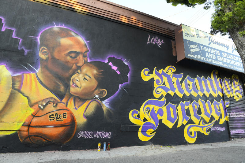 A mural honoring Kobe Bryant and his daughter Gianna in downtown Los Angeles, CA. (Photo by Brian Rothmuller/Icon Sportswire via Getty Images)