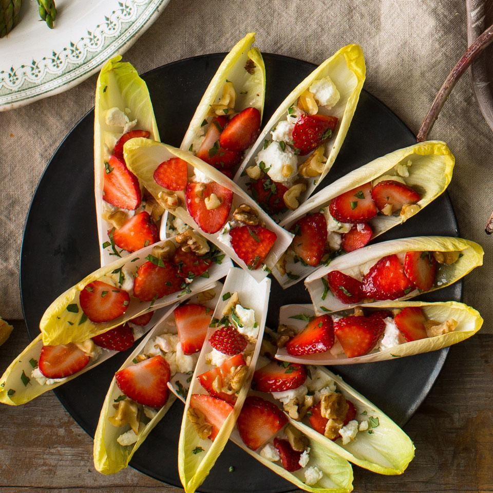 <p>Vary this quick-to-assemble vegetarian appetizer recipe with the season. Try sliced nectarines in place of the strawberries in the summer and halved grapes in the fall. Chopped pecans, pistachios and macadamia nuts are all delicious in place of the walnuts as well.</p>
