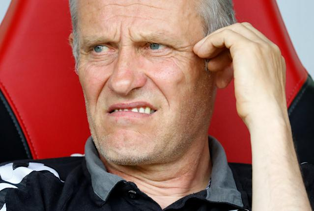 Soccer Football - Bundesliga - SC Freiburg v FC Augsburg - Schwarzwald-Stadion, Freiburg, Germany - May 12, 2018 SC Freiburg coach Christian Streich before the match REUTERS/Kai Pfaffenbach DFL RULES TO LIMIT THE ONLINE USAGE DURING MATCH TIME TO 15 PICTURES PER GAME. IMAGE SEQUENCES TO SIMULATE VIDEO IS NOT ALLOWED AT ANY TIME. FOR FURTHER QUERIES PLEASE CONTACT DFL DIRECTLY AT + 49 69 650050