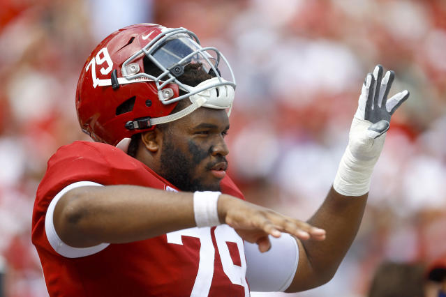 Alabama offensive lineman Chris Owens (79) indicates the fourth quarter during the second half of an NCAA college football game against Louisiana-Lafayette, Saturday, Sept. 29, 2018, in Tuscaloosa, Ala. Alabama won 56-14. (AP Photo/Butch Dill)