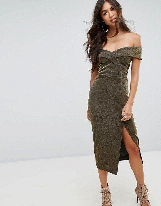 "Take fancy to the next level with this bardot-style split midi dress. Get it at <a href=""http://us.asos.com/outrageous-fortune/outrageous-fortune-bardot-pencil-midi-dress-with-split/prd/8755401?clr=gold&cid=8799&pgesize=36&pge=0&totalstyles=5409&gridsize=3&gridrow=5&gridcolumn=2"" target=""_blank"">ASOS for $51</a>."