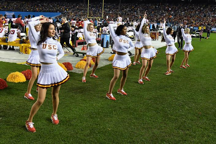 USC Trojans cheerleaders on the field during the 2019 Holiday Bowl