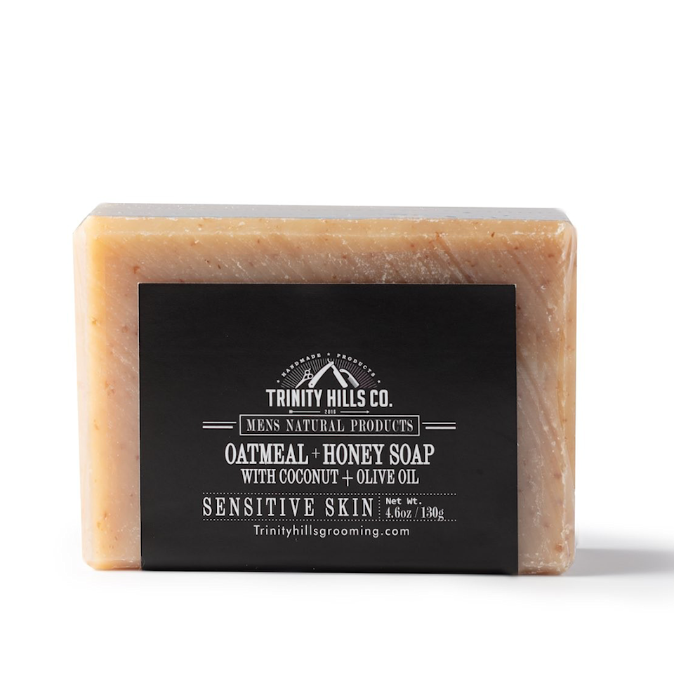 """<p><strong>Trinity Hills Co</strong></p><p>trinityhillsgrooming.com</p><p><strong>$7.50</strong></p><p><a href=""""https://www.trinityhillsgrooming.com/products/oatmeal-honey-soap"""" rel=""""nofollow noopener"""" target=""""_blank"""" data-ylk=""""slk:Shop Now"""" class=""""link rapid-noclick-resp"""">Shop Now</a></p><p>The ingredients in this bar soap are simple: Shea butter, honey, olive oil, and oatmeal. The natural exfoliating properties of the oatmeal work with soothing honey, shea butter, and olive oil to create a therapeutic experience with nourishing results. <br><br></p>"""