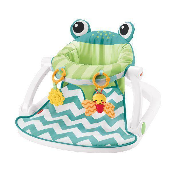 """<p><strong>Fisher-Price</strong></p><p>walmart.com</p><p><strong>$38.84</strong></p><p><a href=""""https://go.redirectingat.com?id=74968X1596630&url=https%3A%2F%2Fwww.walmart.com%2Fip%2FFisher-Price-Sit-Me-Up-Floor-Seat-with-2-Linkable-Toys-Citrus-Frog%2F158135802%3Fselected%3Dtrue&sref=https%3A%2F%2Fwww.bestproducts.com%2Fparenting%2Fbaby%2Fg113%2Fbaby-floor-seats-sitting-up%2F"""" rel=""""nofollow noopener"""" target=""""_blank"""" data-ylk=""""slk:Shop Now"""" class=""""link rapid-noclick-resp"""">Shop Now</a></p><p>From play time to snack time, this floor seat is the perfect spot for your little one to hang out in while practicing holding their head up. </p><p>When your baby gets a little wild with their midday fruit puree pouch, you can slide the cushion out and pop it right in the wash. The brightly colored toys grab your tot's attention and keep them engaged while they work on their fine motor skills. </p><p>You can also tote this seat from the downstairs playroom to the upstairs nursery with the easy fold-and-go setup.<br></p>"""