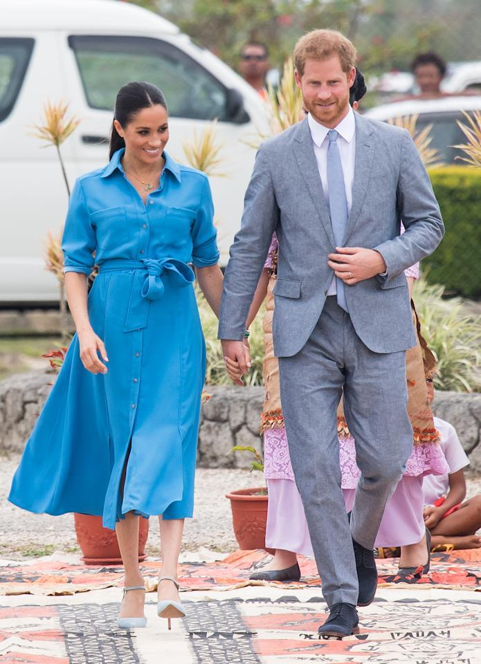 We last saw Meghan rock the blue dress while touring on October 26, 2018 in Nuku'alofa, Tonga. The Duke and Duchess of Sussex were on their official 16-day Autumn tour visiting cities in Australia, Fiji, Tonga and New Zealand. Photo: Getty Images