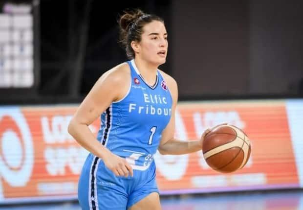 Aislinn Konig is seen above with Elfic Fribourg of the Swiss league. Konig is now with the Canadian national team, which is preparing for a whirlwind few months intended to end on the Olympic podium. (Le Cinq Majeur/FIBA - image credit)