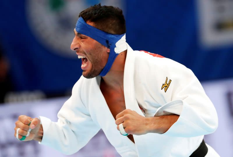 FILE PHOTO: Iran's Saeid Mollaei in action at the World Judo Championships in 2019
