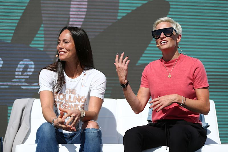 NEWPORT BEACH, CA - OCTOBER 4: Sue Bird and Megan Rapinoe attend the 8th Annual espnW: Women + Sports Summit at Resort at Pelican Hill on October 4, 2017 in Newport Beach, California. (Photo by Joe Scarnici/Getty Images)