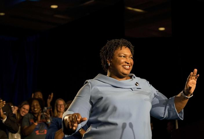 "Stacey Abrams addresses supporters on election day in Georgia in November 2018, when she lost her bid to become governor. <span class=""copyright"">(Melina Mara / Washington Post)</span>"