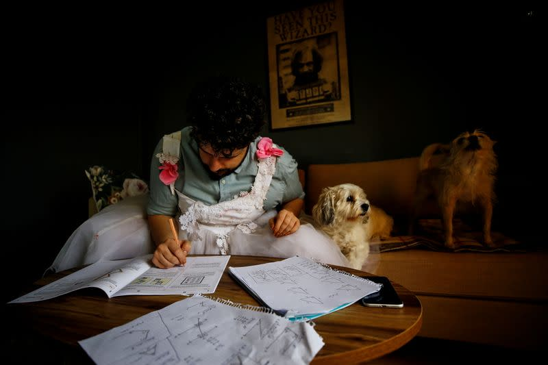Cayan Hakiki studies for the university entrance exams at their home in Ankara