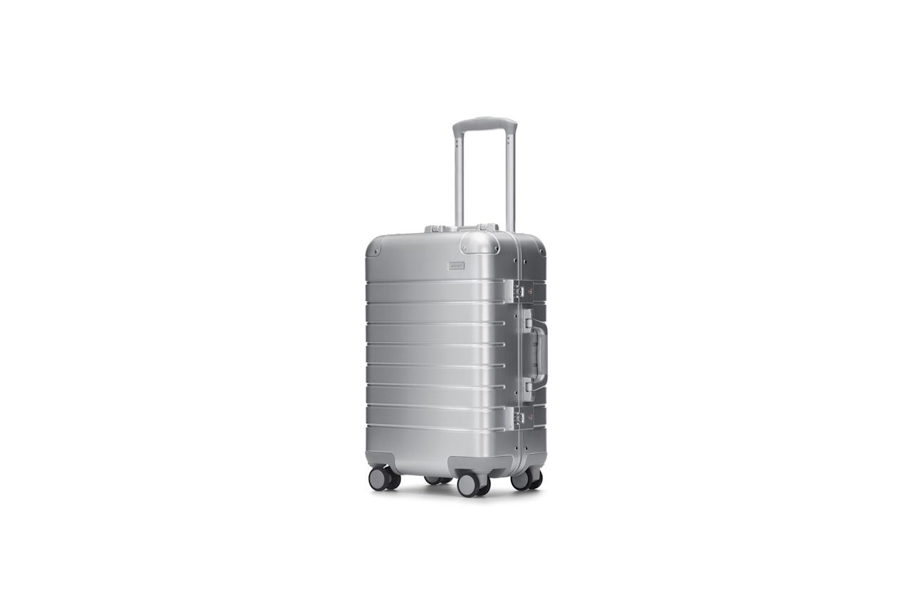 """$475, Away. <a rel=""""nofollow"""" href=""""https://www.awaytravel.com/luggage/aluminum-carry-on"""">Get it now!</a>"""