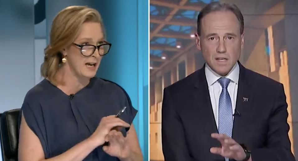 ABC's Leigh Sales speaks with Health Minister Greg Hunt during ABC's 7.30 program.