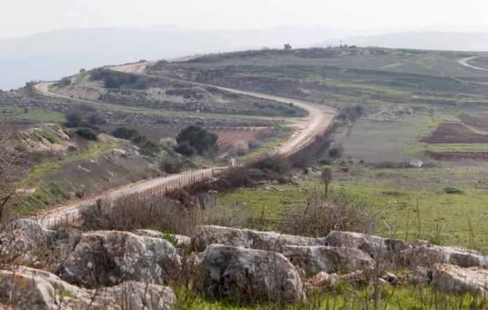 A general view shows the Lebanese-Israeli border as seen from the village of Mays Al-Jabal