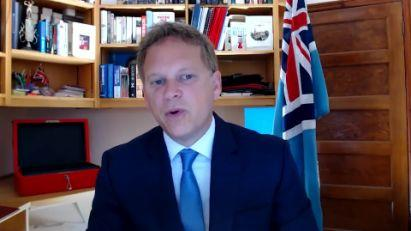 Grant Shapps spoke from his Hertfordshire home to urge Britons to return to the workplace (YouTube/LBC)
