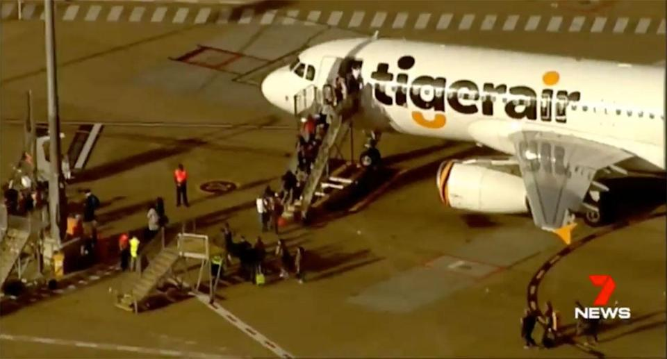The Tigerair flight TT680 landed safely in Brisbane without incident, the carrier confirmed. Source: 7 News