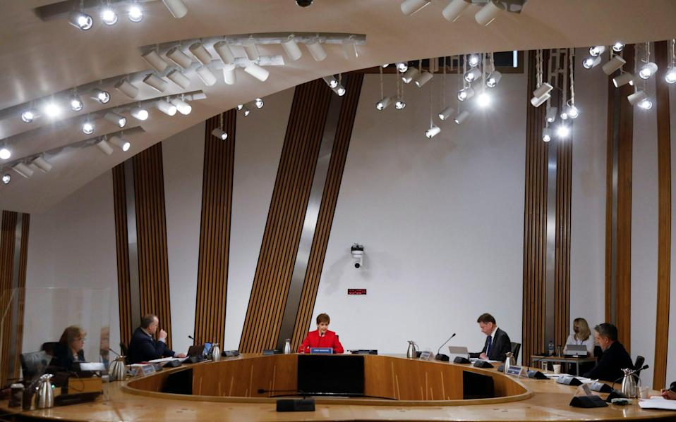Nicola Sturgeon before giving evidence to the Committee on the Scottish Government Handling of Harassment Complaints, at Holyrood - PA