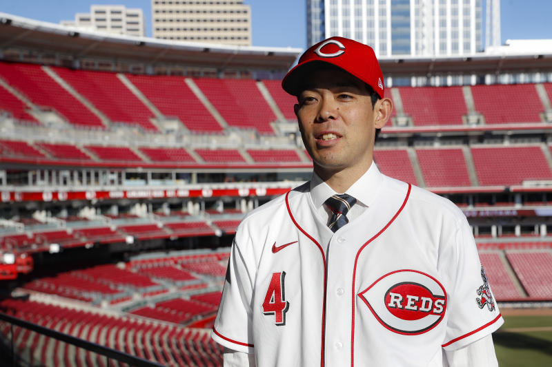 Cincinnati Reds outfielder Shogo Akiyama is interviewed at Great American Ball Park after a news conference, Wednesday, Jan. 8, 2020, in Cincinnati. Outfielder Shogo Akiyama agreed to a $21 million, three-year deal with the Cincinnati Reds, the only major league team that hasn't had a player born in Japan. The 31-year-old center fielder was a five-time All-Star during his nine seasons with the Seibu Lions in Japan's Pacific League. (AP Photo/John Minchillo)