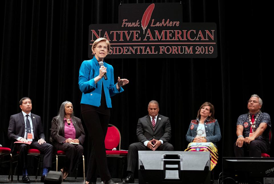 """""""I am sorry for harm I have caused,"""" Sen. Elizabeth Warren (D-Mass.) told the audience at the Frank LaMere Native American Presidential Forum. (Photo: Alex Wroblewski / Reuters)"""