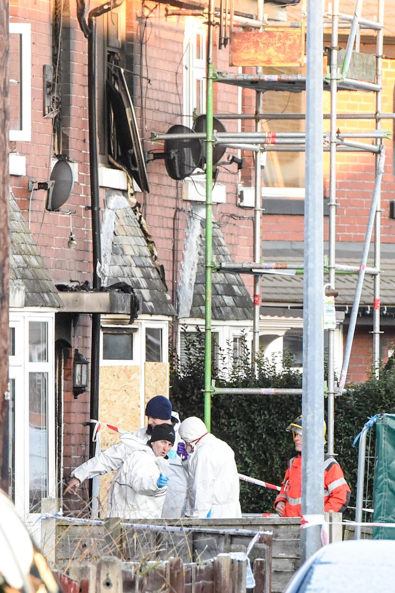 Emergency services at the scene of the house fire in Walkden, Greater Manchester. (Caters)