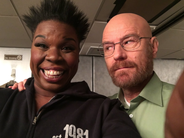 "<p>""Omg you guys I met Mr White!! @BryanCranston he is the bomb.com!!"" she wrote about the <em>Breaking Bad</em> star. Their differing expressions are everything. (Photo: <a href=""https://twitter.com/Lesdoggg/status/807831470463127552"" rel=""nofollow noopener"" target=""_blank"" data-ylk=""slk:Leslie Jones via Twitter"" class=""link rapid-noclick-resp"">Leslie Jones via Twitter</a>) </p>"