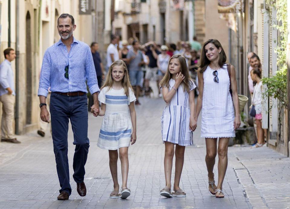 <p>Queen Letizia and King Felipe have two daughters, 12-year-old Leonor and 10-year-old Sofia, who are first and second in line, respectively, to the throne. In November 2017, Princess Leonor sat for her first official solo portrait ahead of her birthday. When she ascends the throne after the father, Leonor will become Spain's first queen regent since Isabella II in 1833. Here are Leonor, Sofia, and their parents vacationing in Mallorca in August 2017. Don't they look like they just finished shooting a J. Crew commercial? </p>