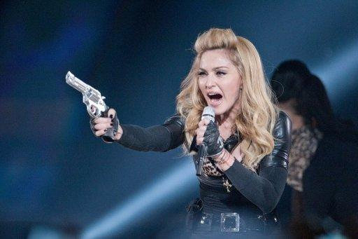 US pop-star Madonna performs during her current world tour on July 7