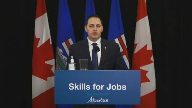 Advanced Education Demetrios Nicolaides introduced new legislation to replace a 30-year bill governing trades.  (Legislative Assembly Pool Feed  - image credit)