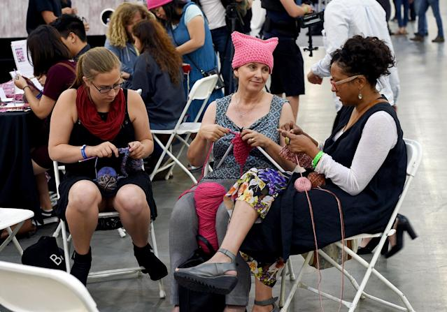 "Women knit ""pussy hats"" during a panel at Politicon at Pasadena Convention Center on July 30, 2017, in Pasadena, Calif. (Photo: Getty Images)"