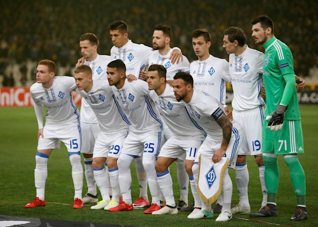 Soccer Football - Europa League Round of 32 First Leg - AEK Athens vs Dynamo Kiev - OAKA Spiros Louis, Athens, Greece - February 15, 2018 Dynamo Kiev players pose for a team group photo before the match REUTERS/Alkis Konstantinidis