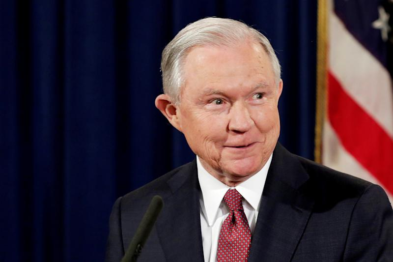 FILE PHOTO: U.S. Attorney General Jeff Sessions speaks at a news conference to address the Deferred Action for Childhood Arrivals (DACA) program at the Justice Department in Washington, U.S., September 5, 2017. REUTERS/Yuri Gripas/File Photo