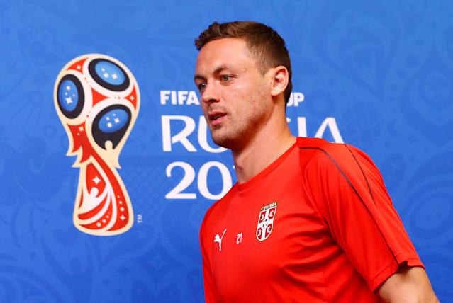 Soccer Football - World Cup - Serbia Press Conference - Kaliningrad Stadium, Kaliningrad, Russia - June 21, 2018 Serbia's Nemanja Matic arrives for the press conference REUTERS/Fabrizio Bensch