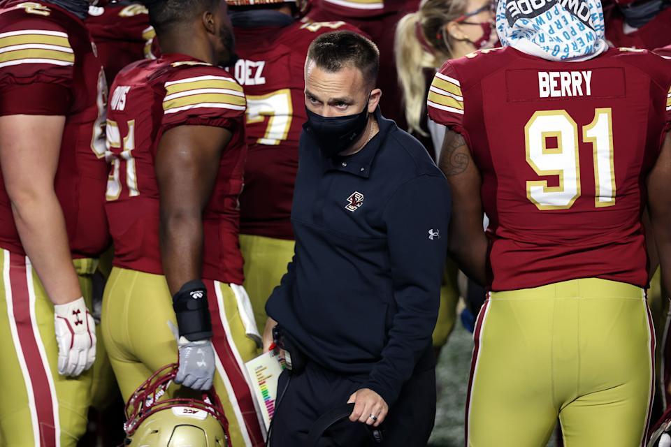 Boston College head coach Jeff Hafley exits a team huddle during a win over Georgia Tech on Oct. 24. (Barry Chin/The Boston Globe via Getty Images)