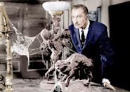 """<p>This 1958 movie starring Vincent Price relies on a killer score and clever tricks to scare viewers. Price stars as an oddball millionaire who challenges five strangers to spend the night in a haunted mansion for a cash prize - which they'll only receive if they survive the night.</p> <p><a href=""""https://www.amazon.com/House-Haunted-Color-Vincent-Price/dp/B001QI5JNS/"""" class=""""link rapid-noclick-resp"""" rel=""""nofollow noopener"""" target=""""_blank"""" data-ylk=""""slk:Watch House on Haunted Hill on Amazon Prime now."""">Watch <b>House on Haunted Hill</b> on Amazon Prime now.</a></p>"""