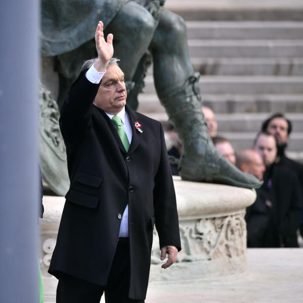 Hungarian Prime Minister Viktor Orban attends a ceremony during the 171th anniversary of the outbreak of the 1848 revolution and war of independence against the Habsburg rule, in Budapest, Hungary, Friday, March 15, 2019. (Zsolt Szigetvary/MTI via AP)