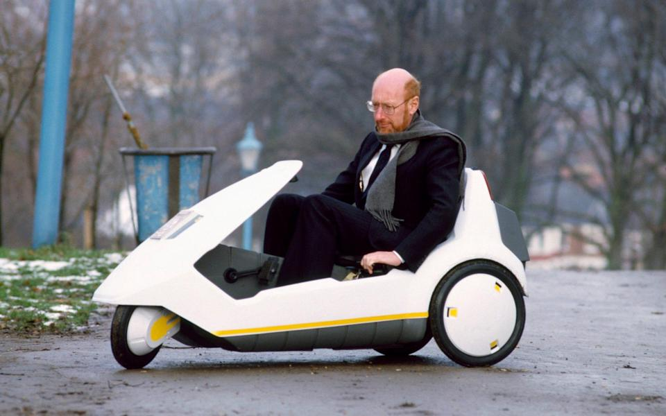Sir Clive with the much-derided Sinclair C5 - Hulton Archive