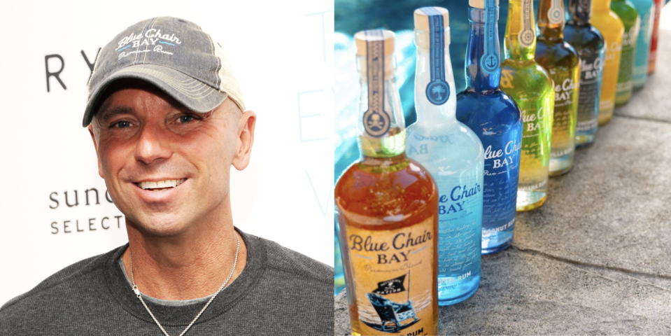 """<p>This rum's name is inspired by """"Old Blue Chair,"""" Kenny Chesney's deeply personal 2004 song released. Clearly, the CMA Entertainer of the Year loves the island lifestyle. In fact, his collection of premium-blended rums aims to bring that laid-back island feel right to your glass. Best of all: The rum line, created on the shores of the Caribbean, features 10 flavors, including several low-calorie creams, too.</p><p><a class=""""link rapid-noclick-resp"""" href=""""https://go.redirectingat.com?id=74968X1596630&url=https%3A%2F%2Fwww.reservebar.com%2Fcollections%2Fblue-chair-bay-rum&sref=https%3A%2F%2Fwww.delish.com%2Ffood%2Fg32949671%2Fcelebrity-alcohol-brands%2F"""" rel=""""nofollow noopener"""" target=""""_blank"""" data-ylk=""""slk:BUY NOW"""">BUY NOW</a> <em><strong>$20, reservebar.com</strong></em></p>"""