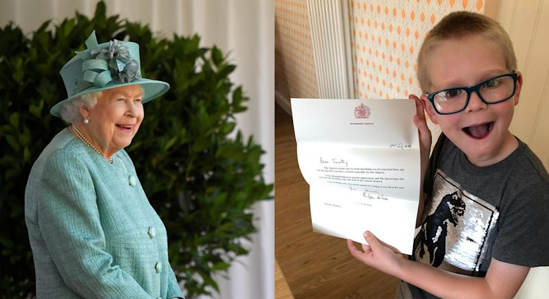 The Queen's lady in waiting thanked Timothy for the word search. (Getty/PA Images)