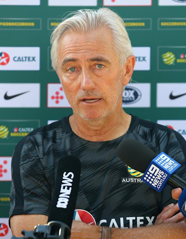 Soccer Football - FIFA World Cup - Australia News Conference - Antalya, Turkey - June 3, 2018. Australia's coach Bert van Marwijk attends a news conference. REUTERS/Kaan Soyturk