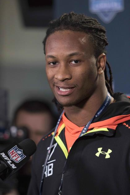 Feb 19, 2015; Indianapolis, IN, USA; Georgia running back Todd Gurley speaks to the media at the 2015 NFL Combine at Lucas Oil Stadium. (Trevor Ruszkowski-USA TODAY Sports)