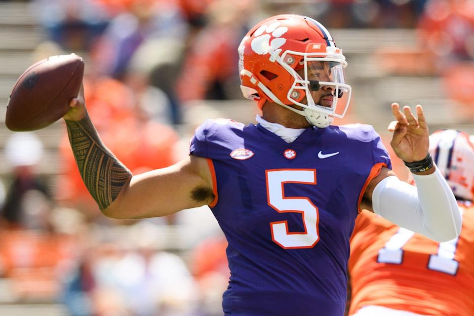 Clemson quarterback D.J. Uiagalelei throws the ball during the Tigers' annual spring game in April.
