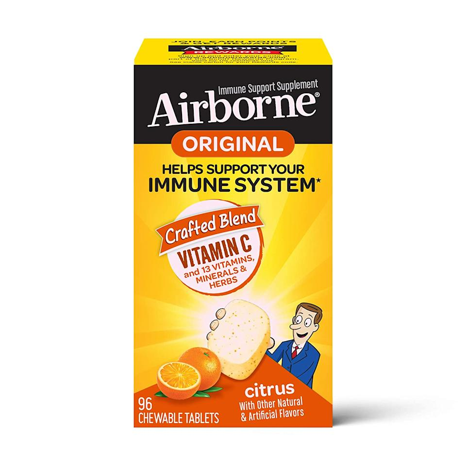 """<br><br><strong>Airborne</strong> Vitamin C 1000mg Citrus Chewable Tablets, $, available at <a href=""""https://amzn.to/305czQA"""" rel=""""nofollow noopener"""" target=""""_blank"""" data-ylk=""""slk:Amazon"""" class=""""link rapid-noclick-resp"""">Amazon</a>"""