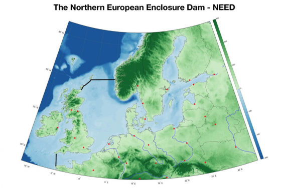 The Northern European Enclosure Dam would mean a 100-mile dam between Cornwall and Brittany and a 300-mile dam between northeast Scotland and west Norway (Sjoerd Groeskamp / NIOZ)