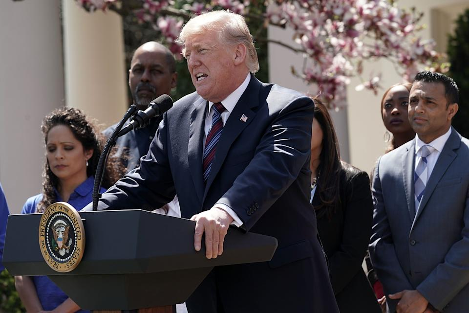WASHINGTON, DC - APRIL 12:  U.S. President Donald Trump speaks during a Rose Garden event April 12, 2018 at the White House in Washington, DC. President Trump gave remarks on tax cuts for American workers.  (Photo by Alex Wong/Getty Images)