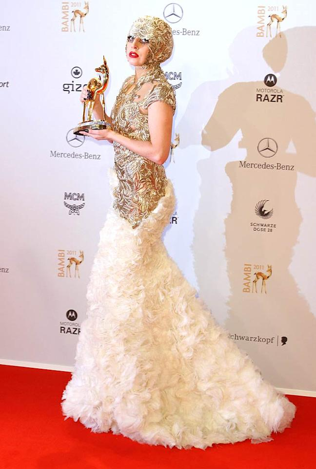 Don't get us wrong; the Alexander McQueen gown Gaga sported at this year's Bambi Awards is a true work of art. We're just sick of seeing the singer in something eccentric every single day. (11/10/2011)