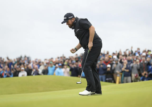 Ireland's Shane Lowry reacts after making a birdie on the 15th green during the final round of the British Open Golf Championships at Royal Portrush in Northern Ireland, Sunday, July 21, 2019.(AP Photo/Peter Morrison)