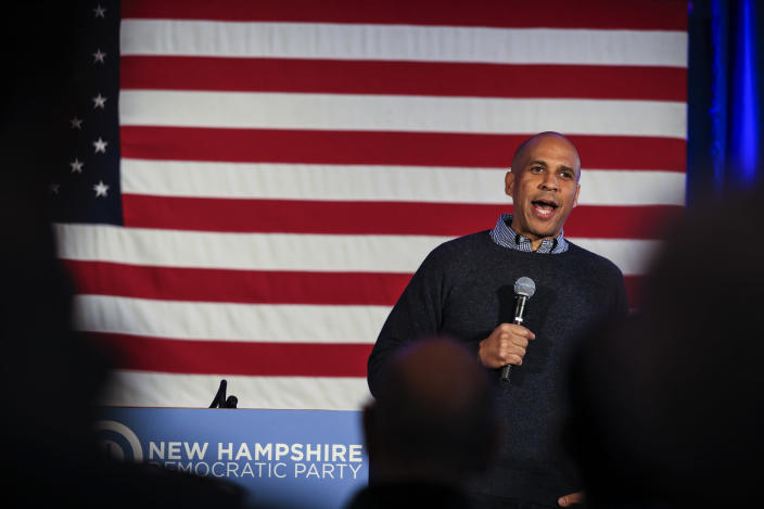 CORRECTS TO SATURDAY, NOT SUNDAY-U.S. Sen. Cory Booker, D-N.J., speaks at a post-midterm election victory celebration in Manchester, N.H., on Saturday, Dec. 8, 2018. (AP Photo/Cheryl Senter)