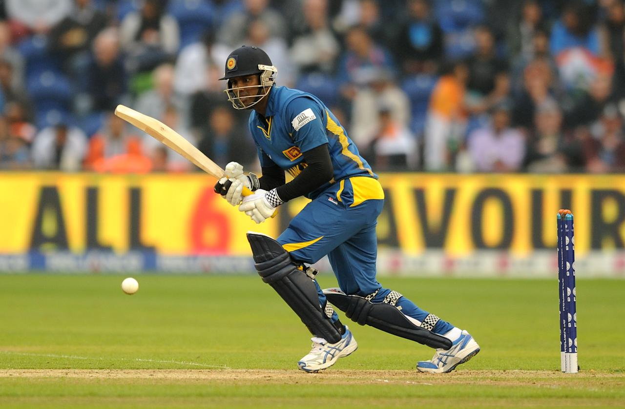Sri Lanka's Angelo Mathews bats during the ICC Champions Trophy, Semi Final at the SWALEC Stadium, Cardiff.